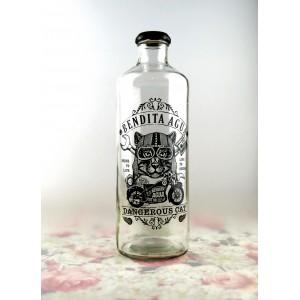 botella vintage bendita agua - tapón metálico - cascanueces